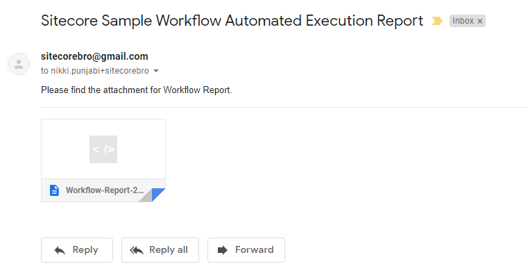 Automated Sitecore Workflow Email